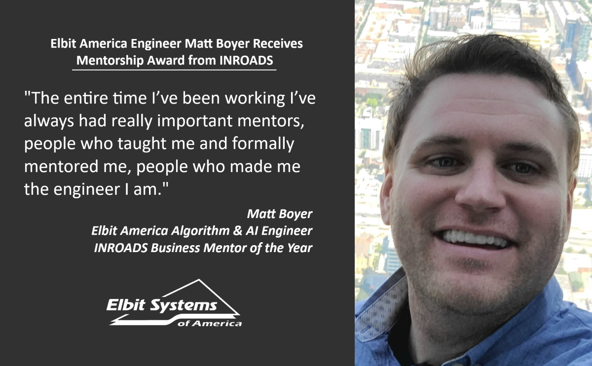 Elbit America Engineer receives mentorship award from INROADS